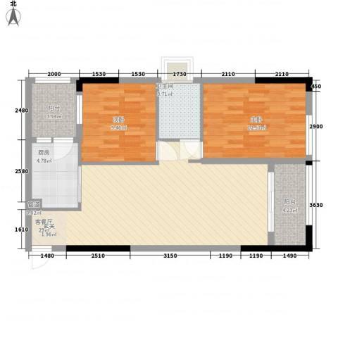 锦绣华景2室1厅1卫1厨83.00㎡户型图