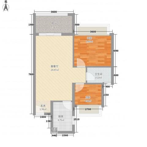 万科城市风景2室1厅1卫1厨52.86㎡户型图