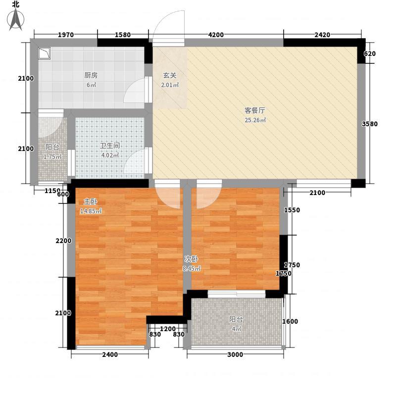 锦绣和庄85.83㎡户型2室2厅1卫1厨