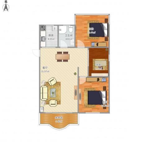 松柏华庭3室1厅1卫1厨104.00㎡户型图