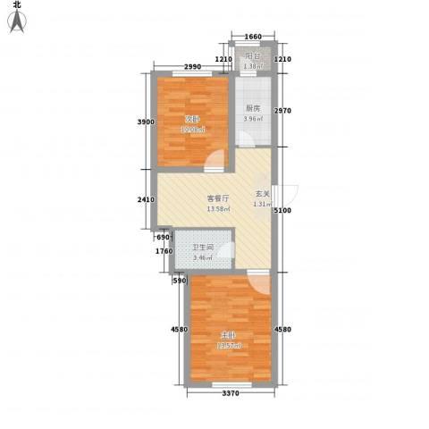 南山秀水2室1厅1卫1厨66.00㎡户型图