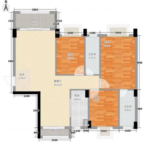 富景花园3室1厅2卫1厨113.00㎡户型图