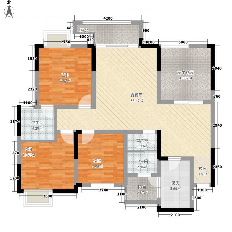 大恒名城122.30㎡1、2号楼B户型3室2厅2卫1厨