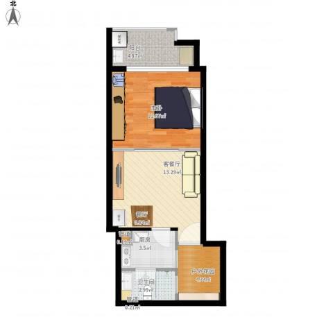 元邦明月园1室1厅1卫1厨60.00㎡户型图