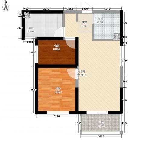 锦城小区一期2室1厅1卫1厨75.00㎡户型图