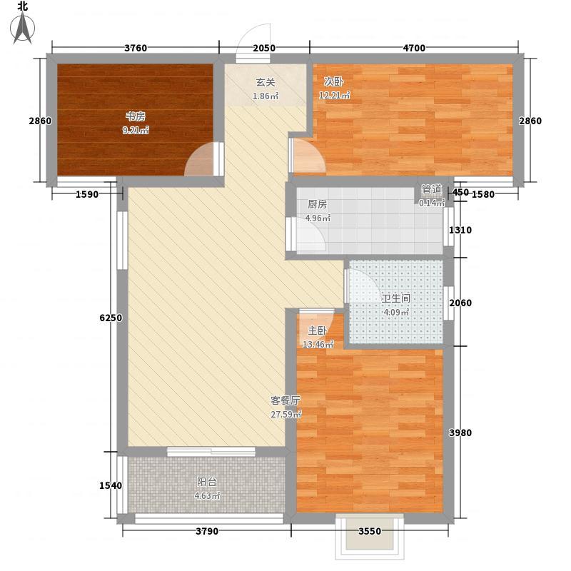 中房・银堤漫步B1户型3室2厅1卫1厨
