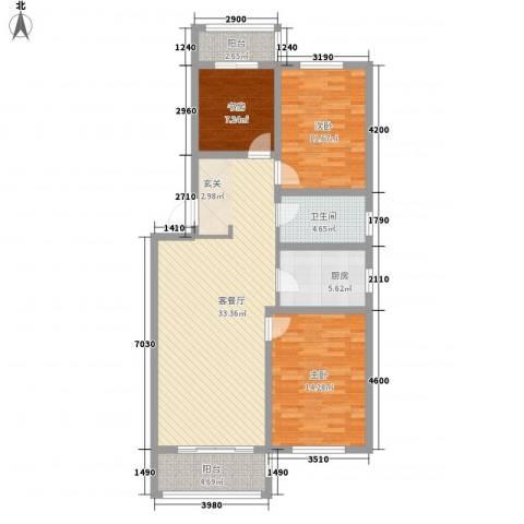 南山秀水3室1厅1卫1厨84.15㎡户型图