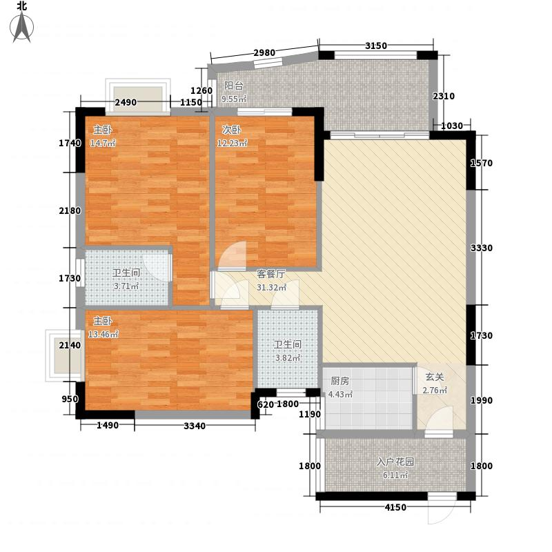 绵登・新世界花园12.46㎡B3栋01户型3室2厅2卫1厨