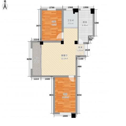 恒嘉・静海蓝湾2室1厅1卫1厨83.00㎡户型图