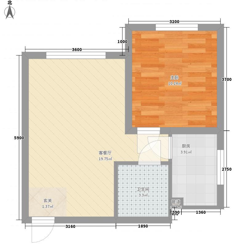 南廷北院55.30㎡C户型1室1厅1卫1厨