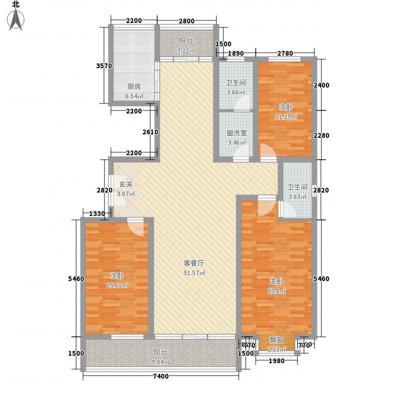 学府花苑15.00㎡炬山花苑户型3室2厅2卫1厨