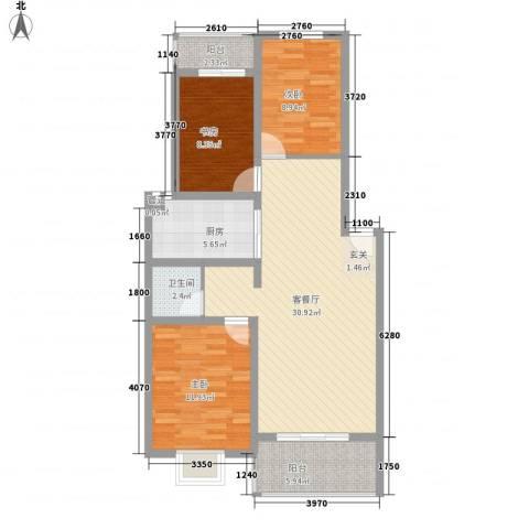 恒嘉・静海蓝湾3室1厅1卫1厨76.51㎡户型图