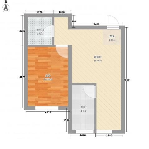 恒嘉・静海蓝湾1室1厅1卫1厨52.00㎡户型图