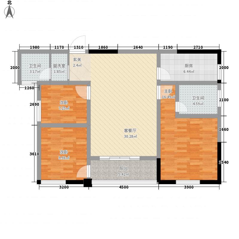 锦东圣苑11.50㎡B1户型3室2厅2卫1厨
