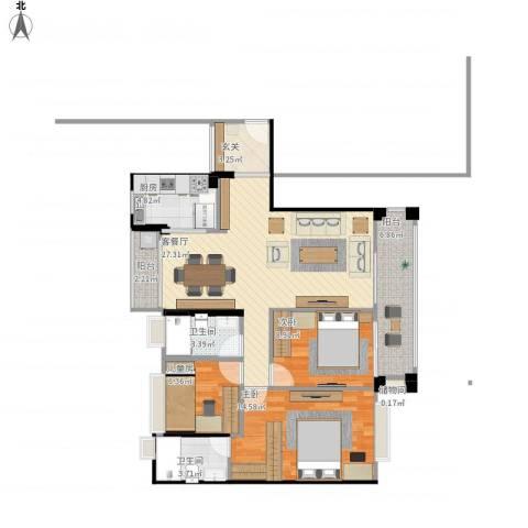 金沙・山海名门3室1厅2卫1厨113.00㎡户型图