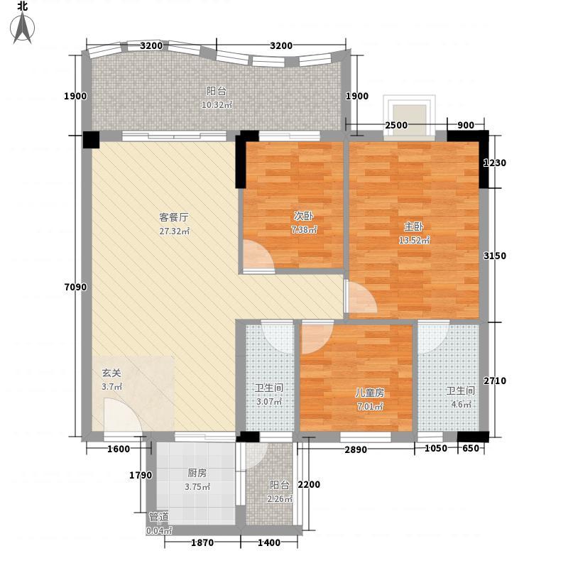 金域名居12.34㎡A1栋2户型3室2厅2卫1厨