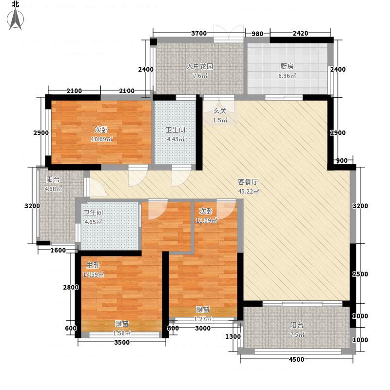 合富花园14.00㎡8#标准层C户平面图户型4室2厅2卫1厨