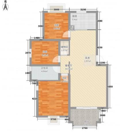 唐仁苑3室1厅1卫1厨120.00㎡户型图