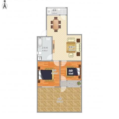 华信组团2212室1厅1卫1厨104.00㎡户型图