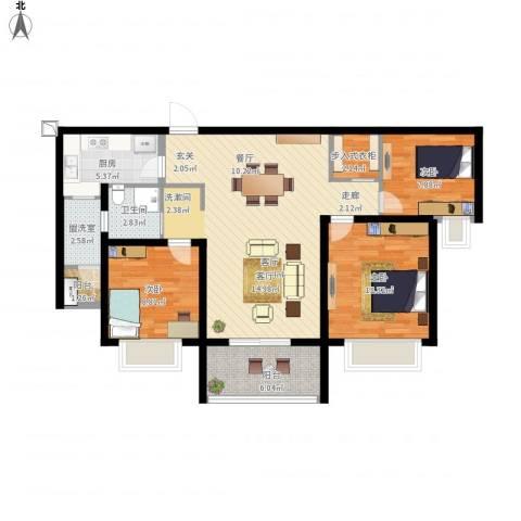 华润中海凯旋门3室2厅1卫1厨116.00㎡户型图