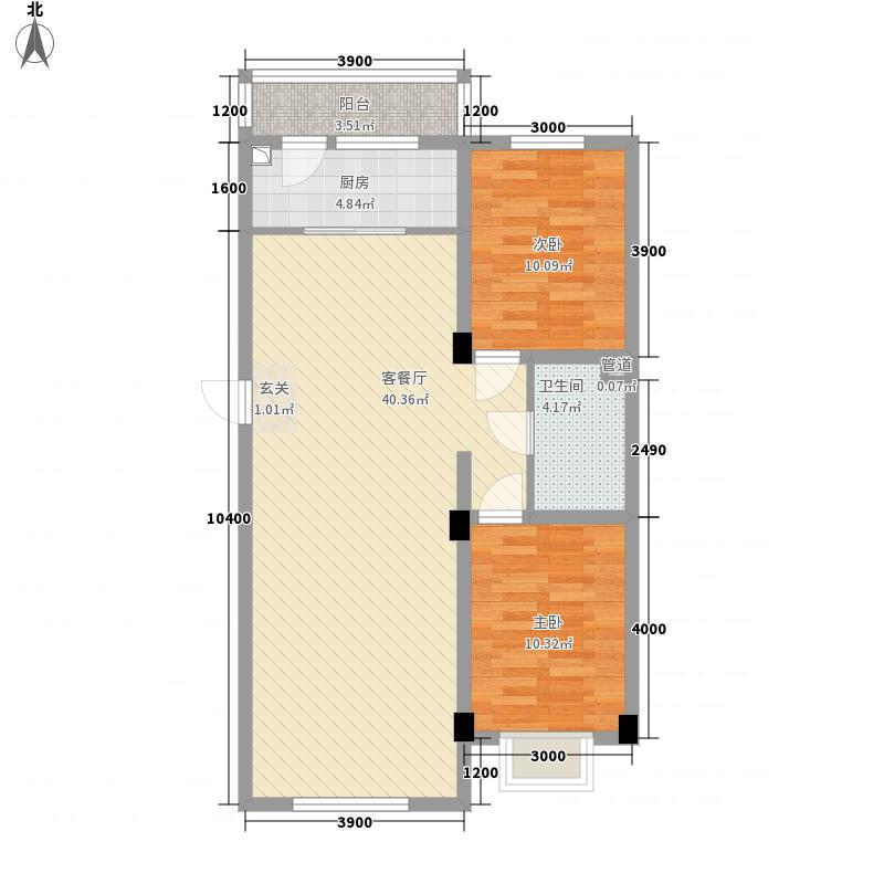 东方雅居4.00㎡D7户型2室2厅1卫