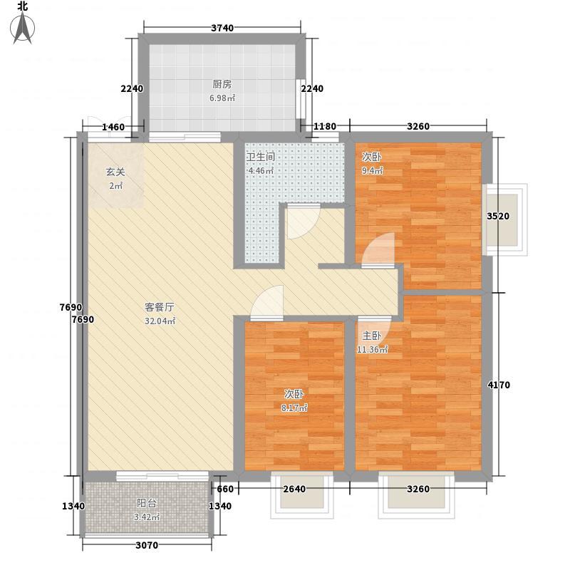 田园・清水湾18.15㎡二期B3户型3室2厅1卫1厨