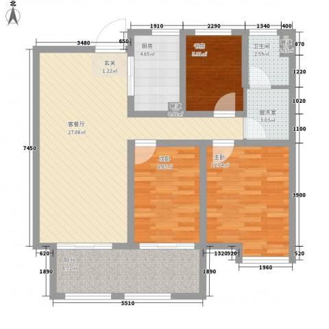 磨山新村3室1厅1卫1厨107.00㎡户型图