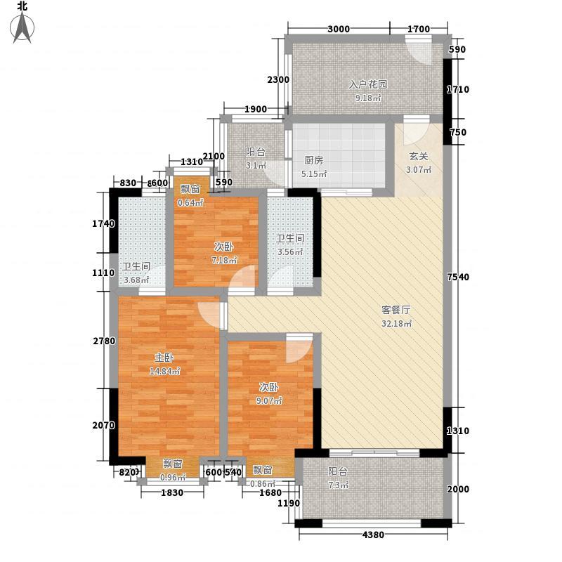 名尚豪苑112.48㎡03单元户型3室2厅2卫1厨