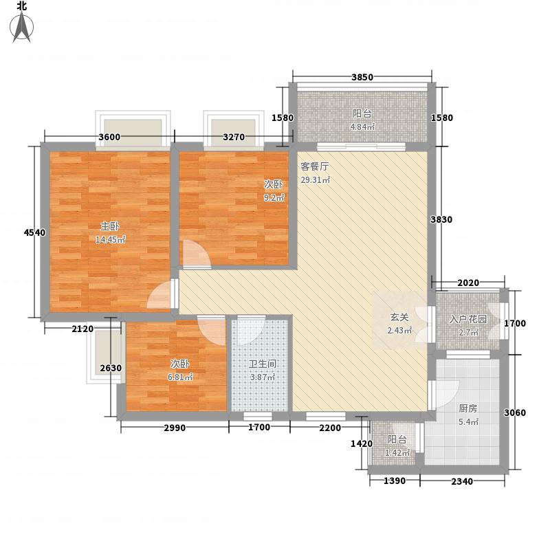 乌蒙庄园14.24㎡单张A户型3室2厅1卫1厨
