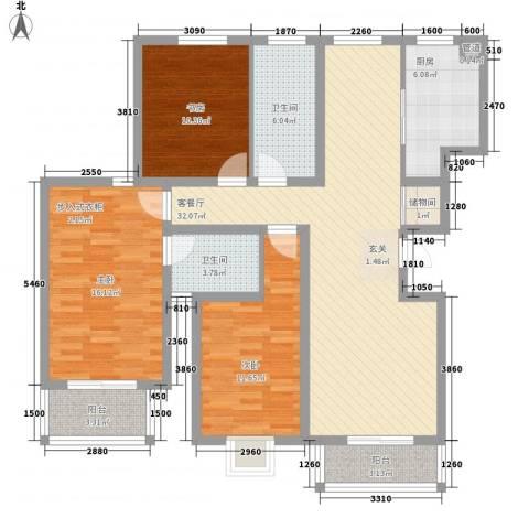 红豆花园3室1厅2卫1厨136.00㎡户型图