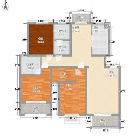 红豆花园3室1厅3卫1厨94.70㎡户型图