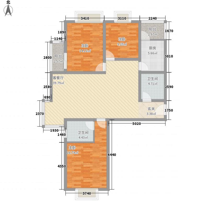 金桥郡143.00㎡8号楼A户型3室2厅2卫1厨