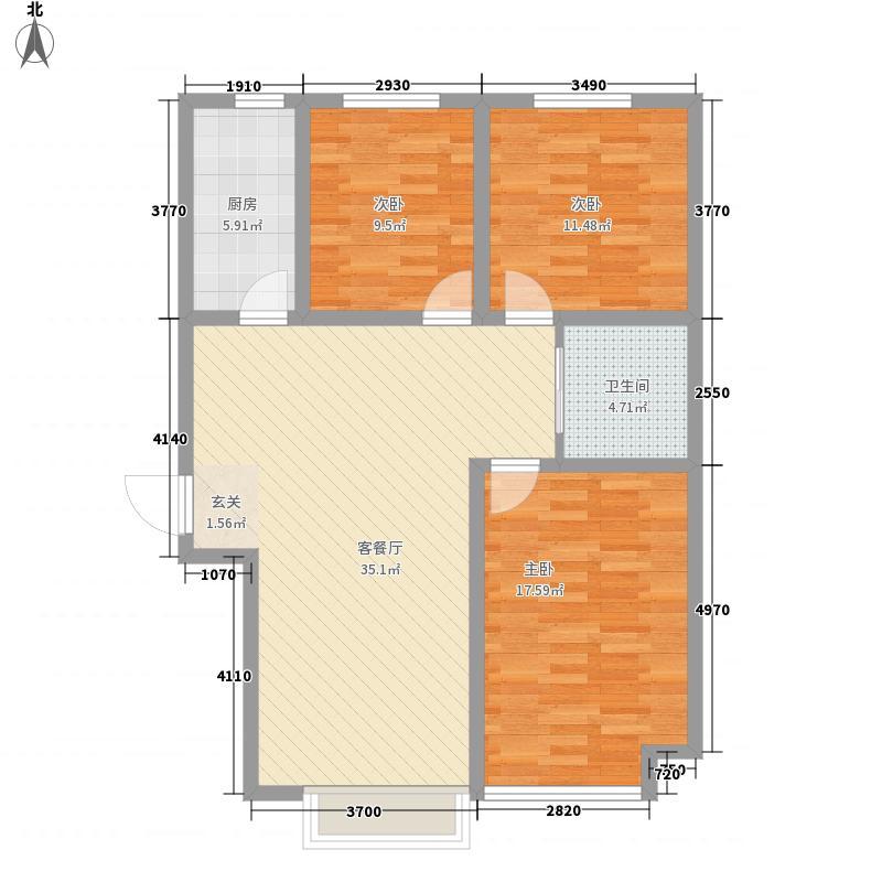 金桥郡11.00㎡8号楼H户型3室2厅1卫1厨