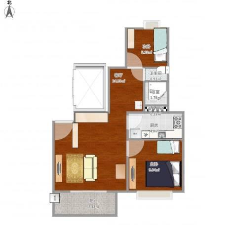 万科金色城市2室1厅1卫1厨71.00㎡户型图