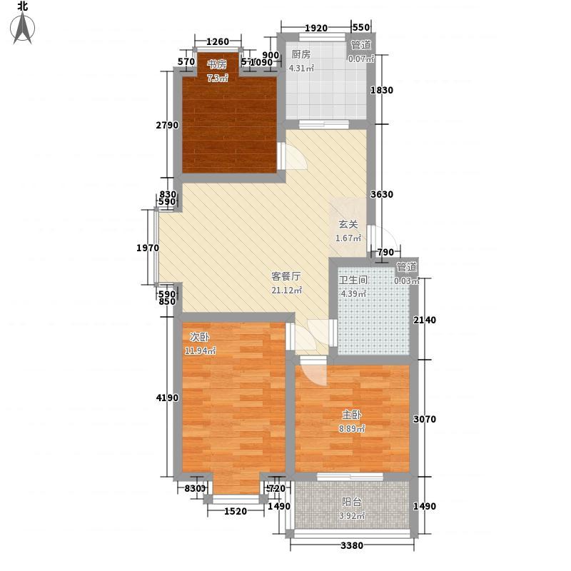 青建景苑88.78㎡C2户型3室2厅1卫1厨