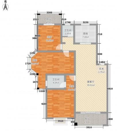 君尚一品・水云间3室1厅2卫1厨160.00㎡户型图