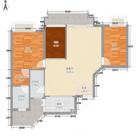 雍泉山庄3室1厅2卫1厨115.00㎡户型图