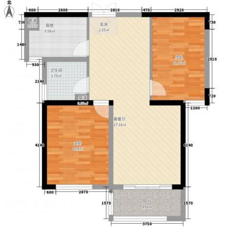 新洲・欧洲城2室1厅1卫1厨65.38㎡户型图