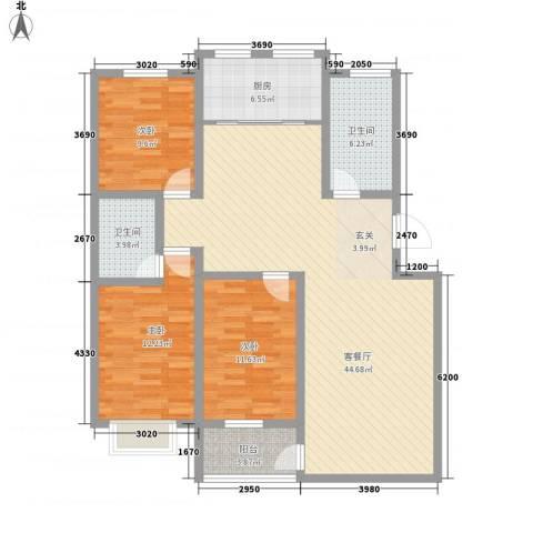 恒信沁园春3室1厅2卫1厨141.00㎡户型图