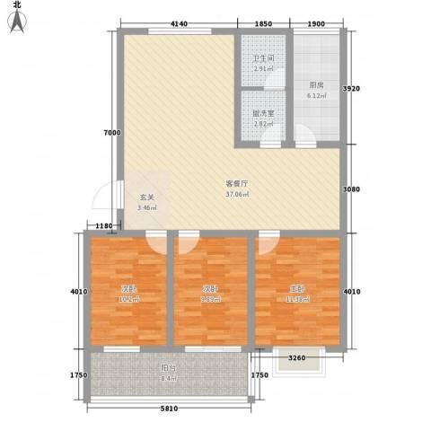 恒信沁园春3室2厅1卫1厨127.00㎡户型图