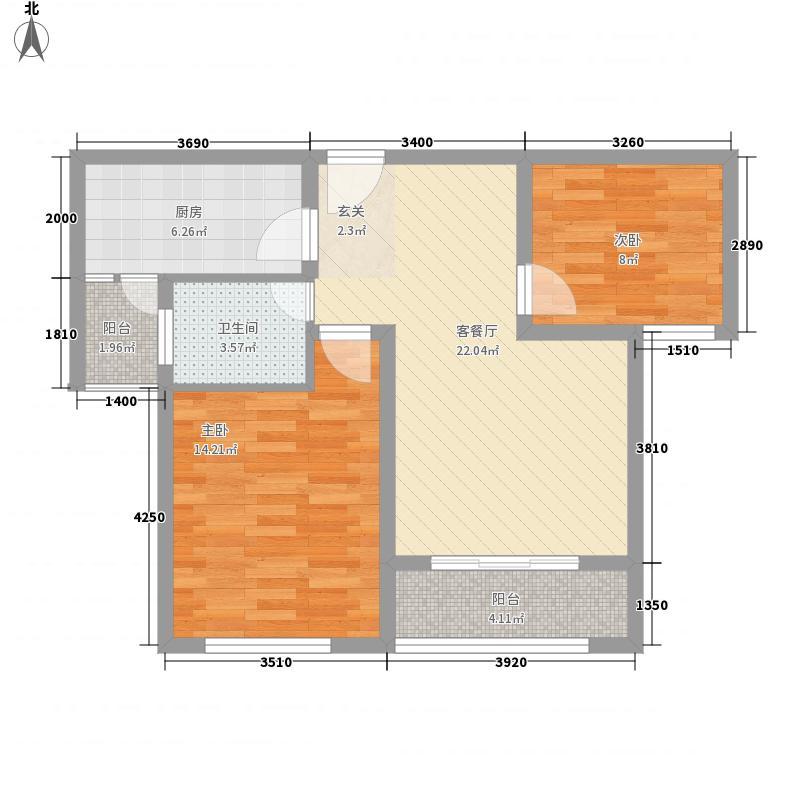 城投・御园87.00㎡3#四至十四层0A3户型2室2厅1卫1厨