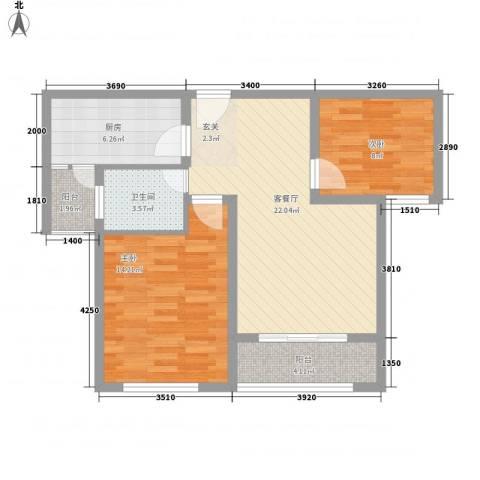 城投・御园2室1厅1卫1厨87.00㎡户型图