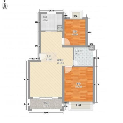 金鑫家园2室1厅1卫1厨86.00㎡户型图