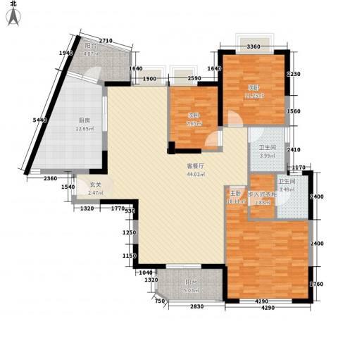 南城路楼群3室1厅2卫1厨160.00㎡户型图