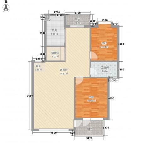 中央公馆2室1厅1卫1厨117.00㎡户型图