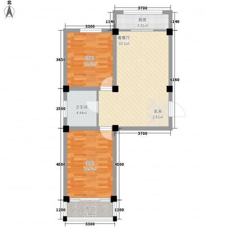 国际新城2室1厅1卫1厨83.00㎡户型图