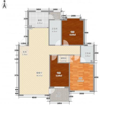 中央公馆3室1厅2卫1厨143.00㎡户型图