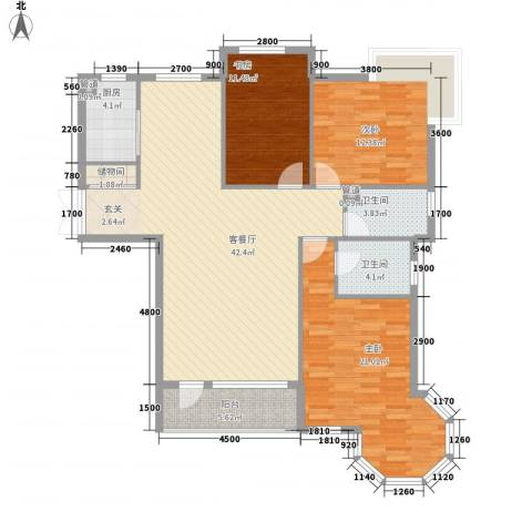 中央公馆3室1厅2卫1厨138.00㎡户型图