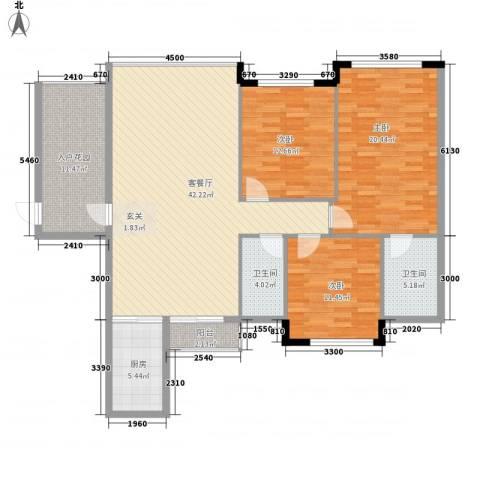 壮龙・幸福新城3室1厅2卫1厨115.01㎡户型图
