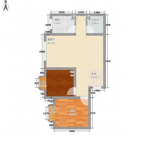 东城100(微笑城堡)2室1厅1卫1厨73.00㎡户型图